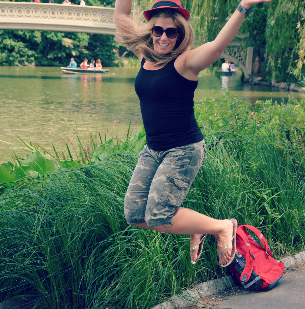 Jumpin at the Bow Bridge in Central Park