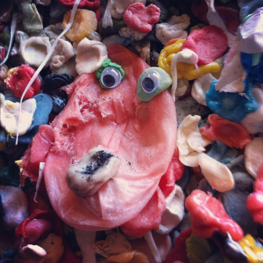 Googly eyes on the Gum Wall in Seattle