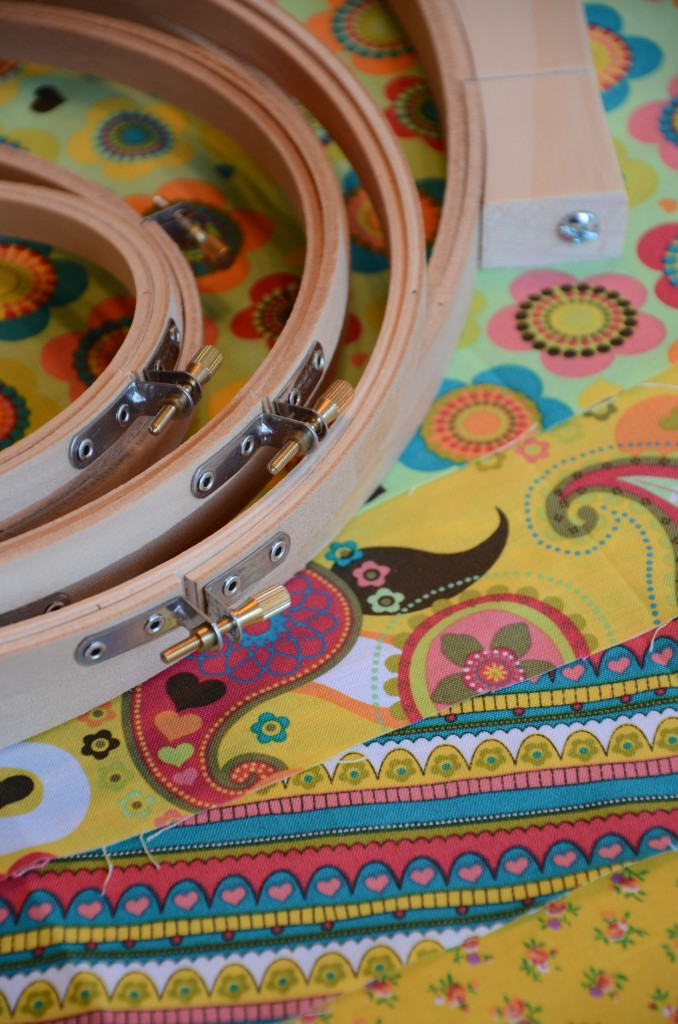 fabric and embroidery hoops via @jennyonthespot