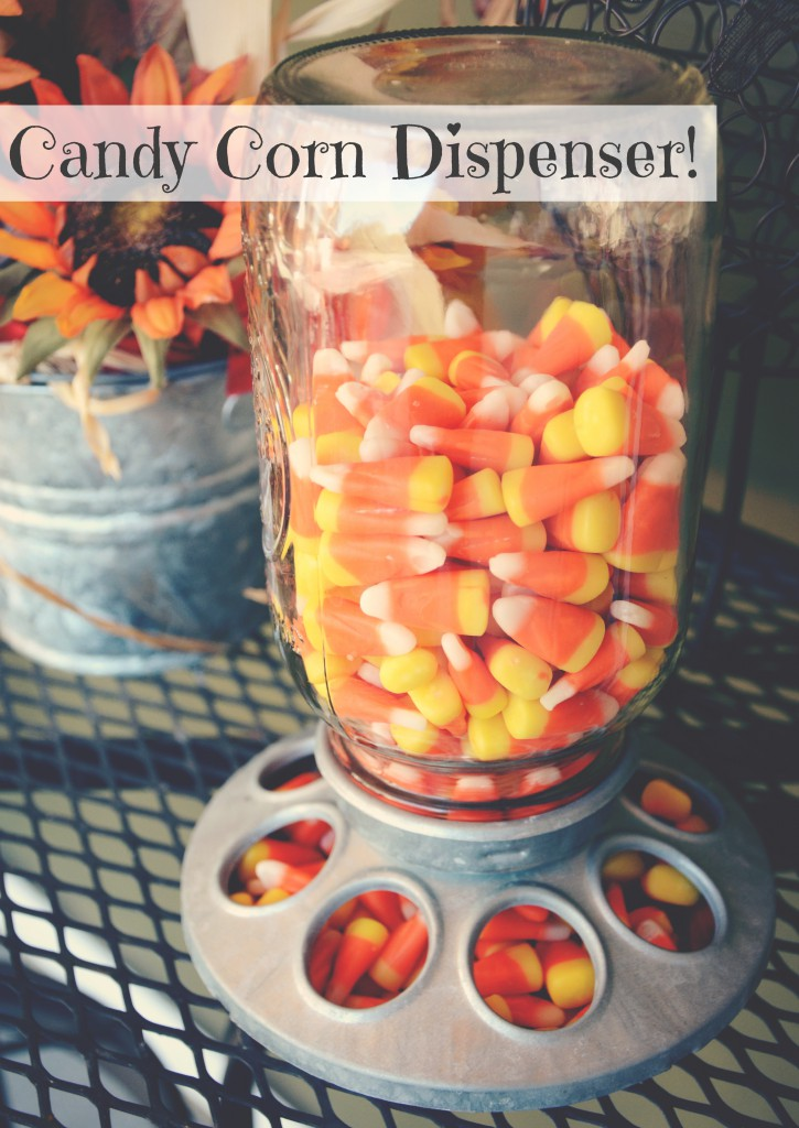 Candy Corn Halloween Candy Dispenser via @jennyonthespot | jennyonthespot.com