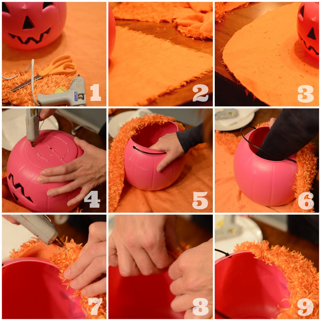 No-Sew, Not-so-Basic Plastic Pumpkin Bucket by @jennyonthespot