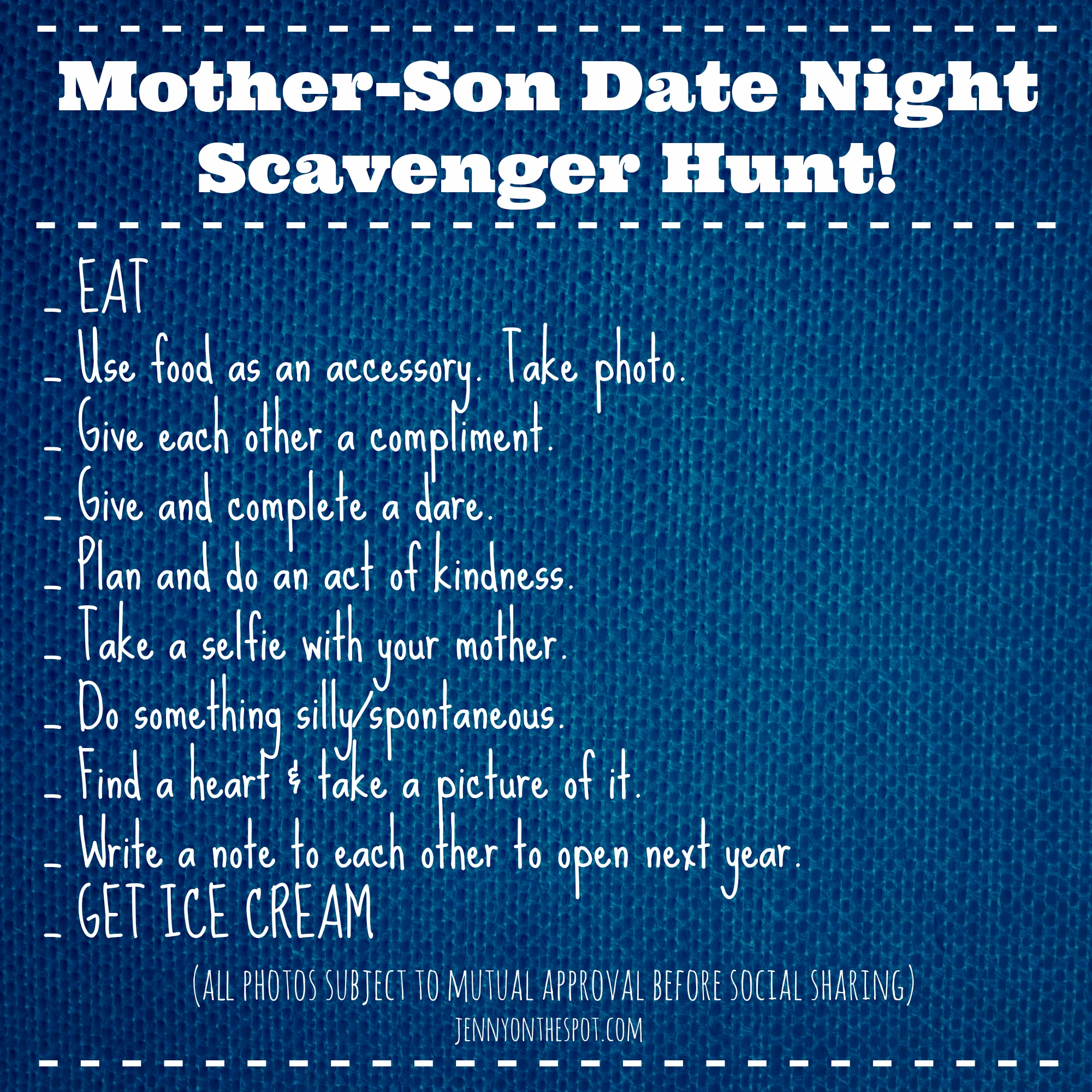 Mother Son Valentine Date Night Scavenger Hunt