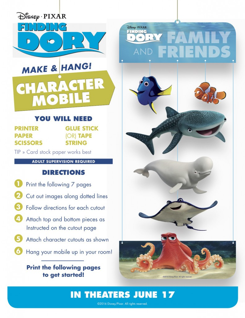 Finding Dory Printables - character moblie via @jennyonthespot