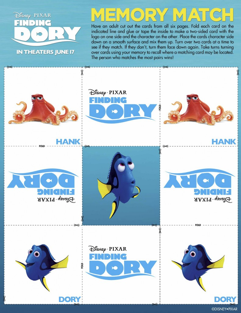 Finding Dory Printables - memory match printable via @jennyonthespot